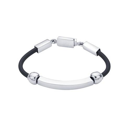 Black Rubber Cord Bracelet w/Sterling Silver Beads
