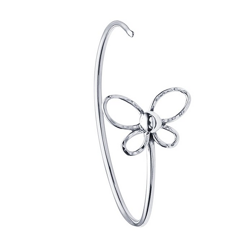 Sterling Silver Wire Cuff Bracelet with Open Butterfly