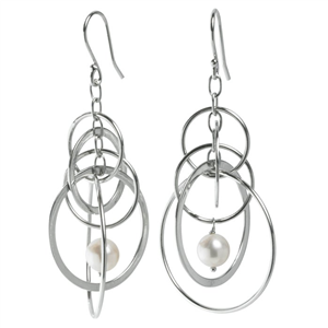 Ear Wire w/Cable, Circles & White Freshwater Pearl