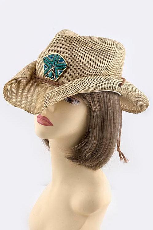 Bead Accent Cowboy Hat