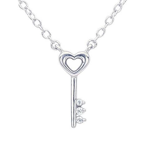 14K White Gold Diamond Heart Key Festoon Necklacel