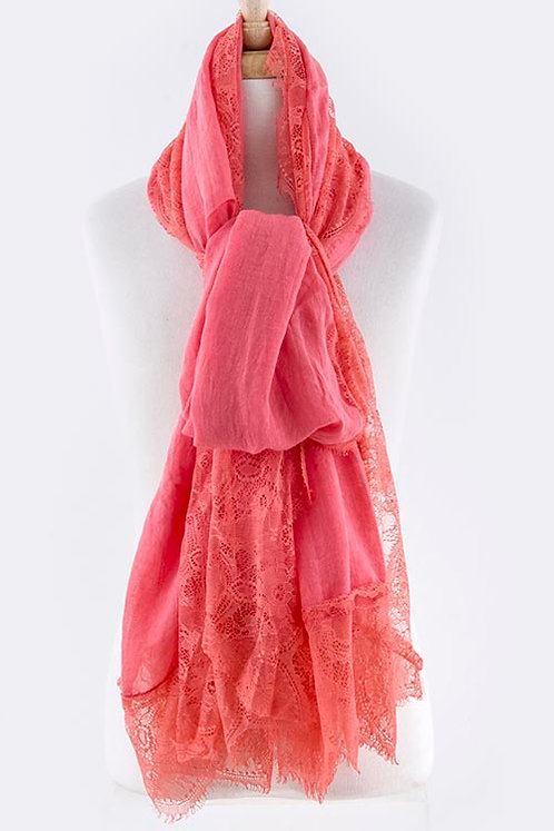 4Sides Delicate Rose Motif Lace Oversized Scarf