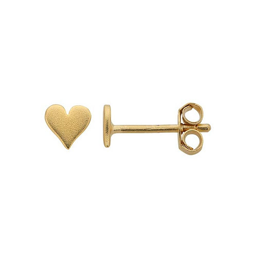 24K Yellow Gold-Plated Silver Heart Post Earrings
