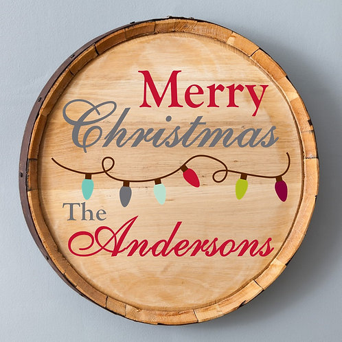 Country Christmas Wood Barrel Sign