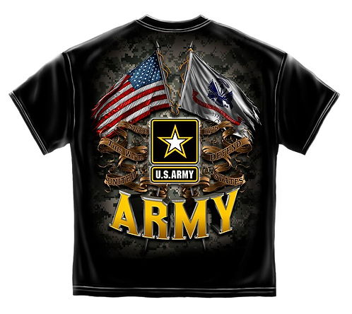 Army Double Flag Black T-Shirt