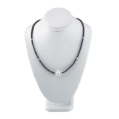 Black Bead Necklace w/Freshwater Cultured Pearl
