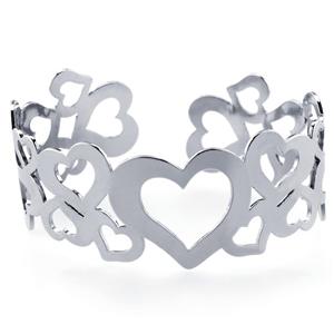 Stainless Steel Multi-Hearts Cuff Bracelet