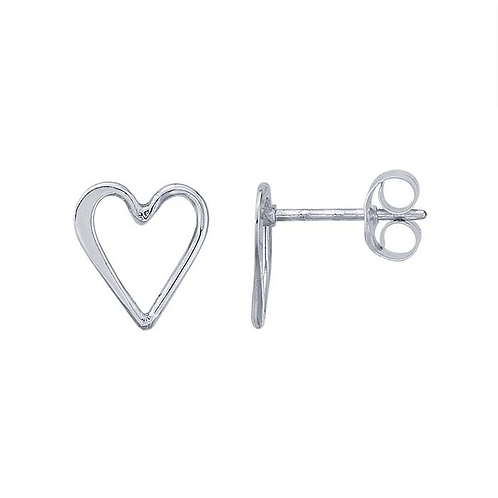 Sterling Silver Open Heart Post Earrings