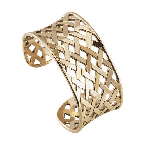 Bronze Concave Cross-Hatch Cuff Bracelet