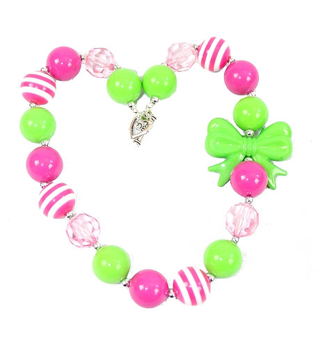 Lime Bow & Hot Pink Necklace