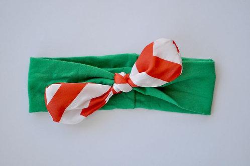 Solid Green Candy Stripe Satin Bow Headband