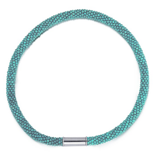 "16"" Turquoise Woven Beaded Collar Necklace"