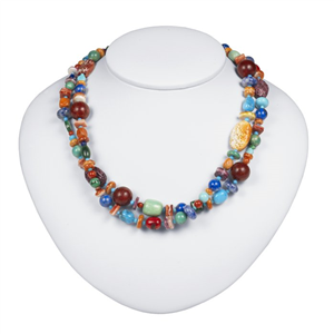 Sterling Silver Two-Strand Multi-Stone Necklace
