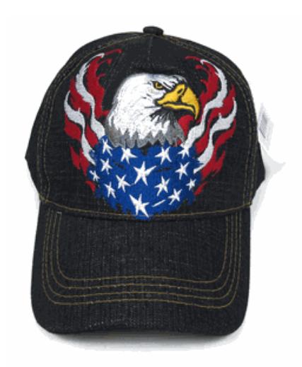 Eagle and American Flag Flame Denim Cap
