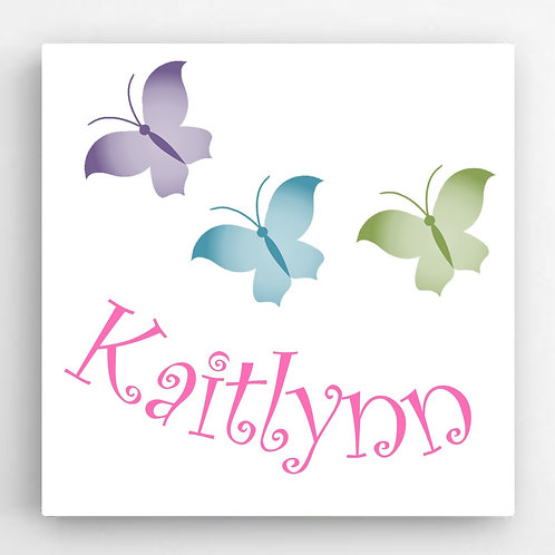 Personalized Butterflies Girls Canvas Sign