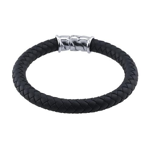 Black 8mm Braided Rubber Bracelet