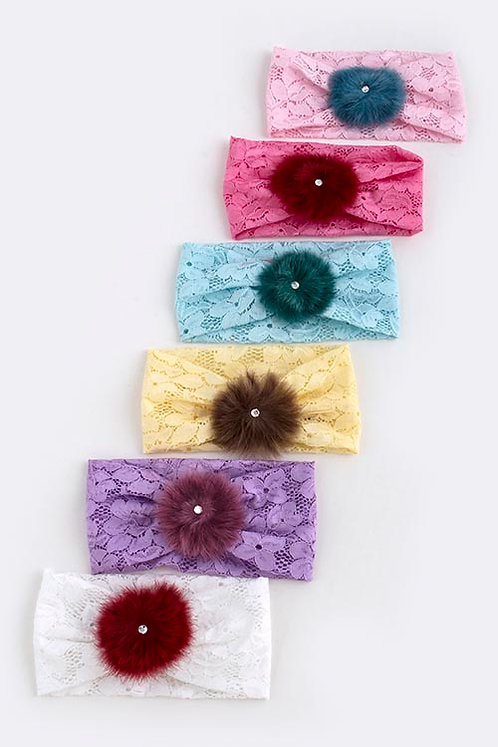 Fluffy Ornate Lace Headwrap - 6 Colors