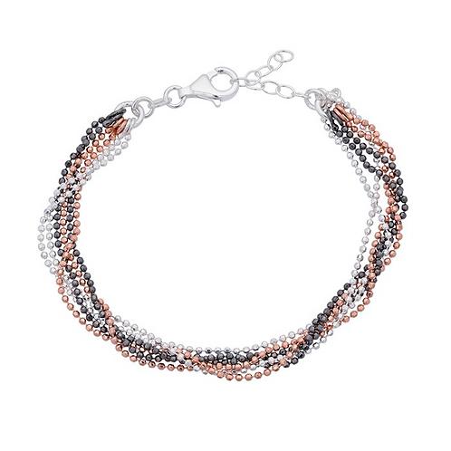 Sterling Silver 6-Strand Tri-Color Diamond-Cut Bead Chain Bracelet