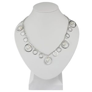 Silver Cable Necklace w/Circle Drops & Pearl Drops