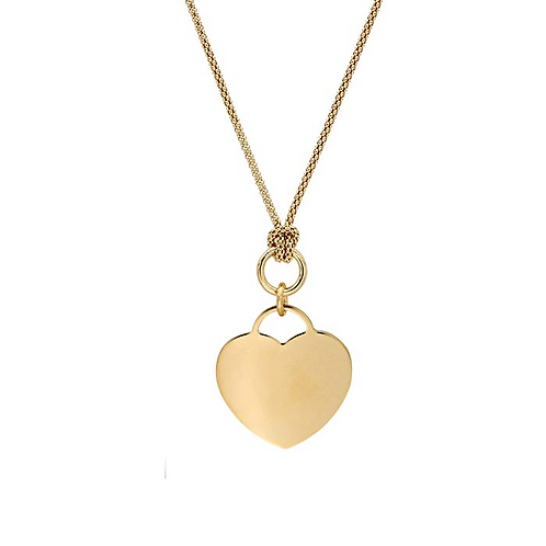 Sterling Silver Popcorn Chain Necklace w/Heart Tag