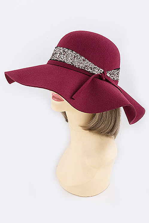 Floppy Hat with Skinny Knot Sequinned Band