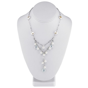 YStyle Necklace w/Freshwater Pearls/ Aqua Crystals