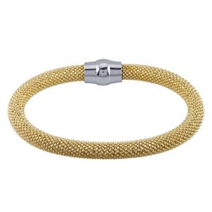 Yellow GoldPlated/DiamondCut Bead Bangle Bracelet