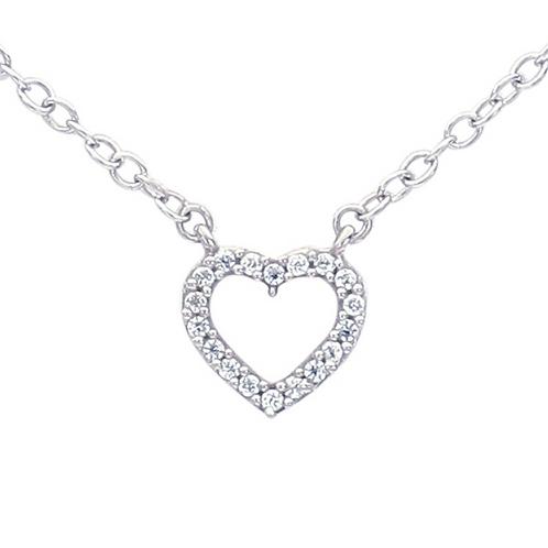 14K White Gold Diamond-Set Heart Festoon Necklace