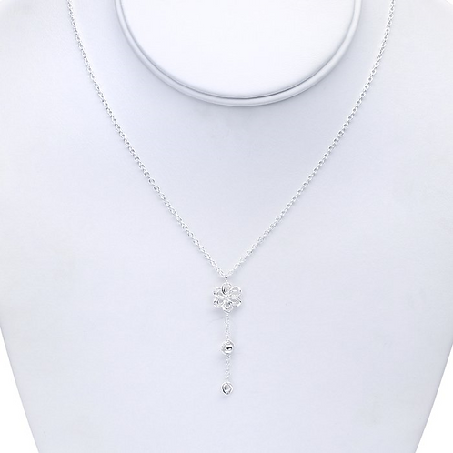 Silver Necklace w/Flower Pendant & Bead Dangle