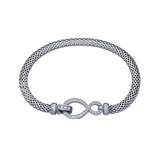 Sterling Silver Rhodium-Plated Mesh Bracelet with CZ-Set Infinity Clasp
