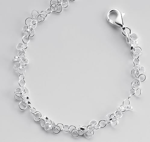 Sterling Silver Alternating Ring Chain Bracelet