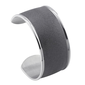 Stainless Steel Black Stardust Cuff Bracelet