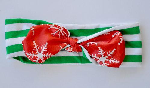 Green Stripe/Red Snowflake Satin Bow Headband