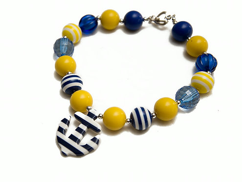 Navy & Yellow Anchor Necklace