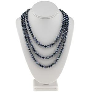 Black Freshwater Semi-Round  Pearl Strand Necklace