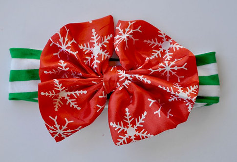 "Green Stripe/Red Snowflake 5"" Satin Bow Headband"
