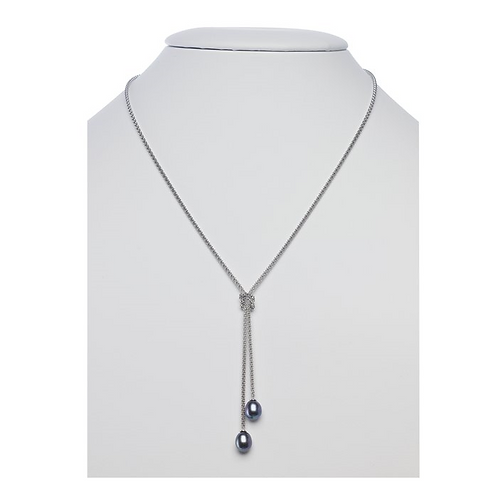 Sterling Silver Charleston Necklace w/Black Pearls