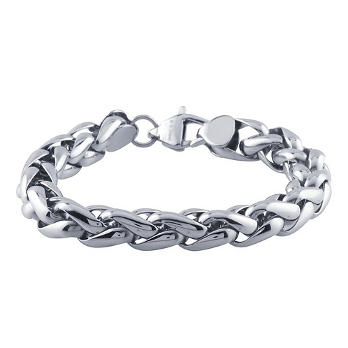 Stainless Steel 11mm Wheat Chain Bracelet