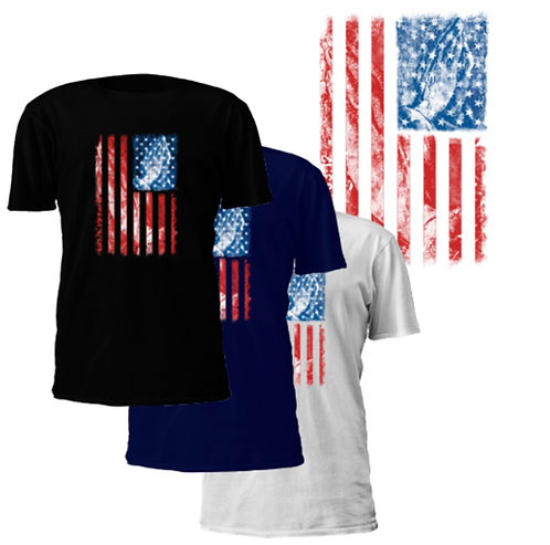 Distressed American Flag Praying Hands T-Shirt