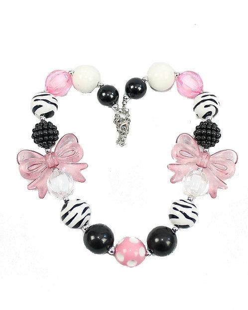 Pink Bow Zebra Stripe Necklace