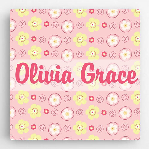 Personalized Girls Pattern Kids Canvas Sign