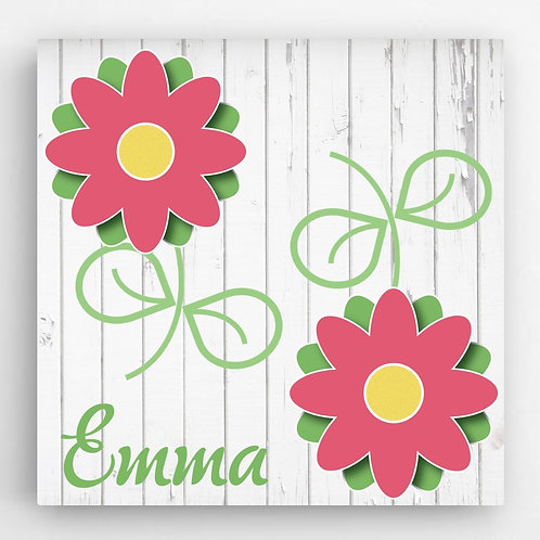 Personalized Flowers Girls Canvas Sign