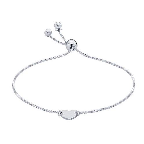Sterling Silver Box Chain Bracelet w/ Heart Plaque