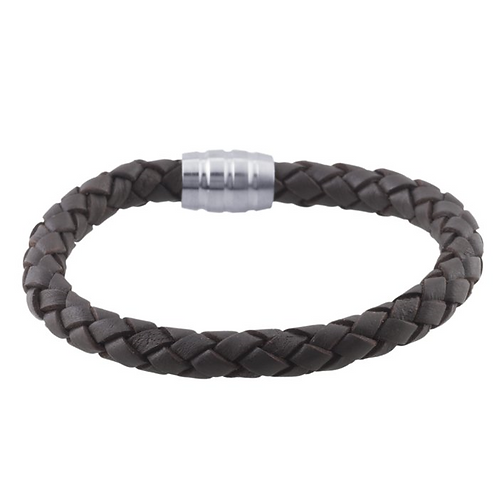 Leather 7.5mm Braided Cord Bracelet - 2 Colors