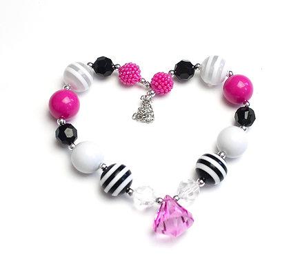 Hot Pink & Black Stripe Necklace