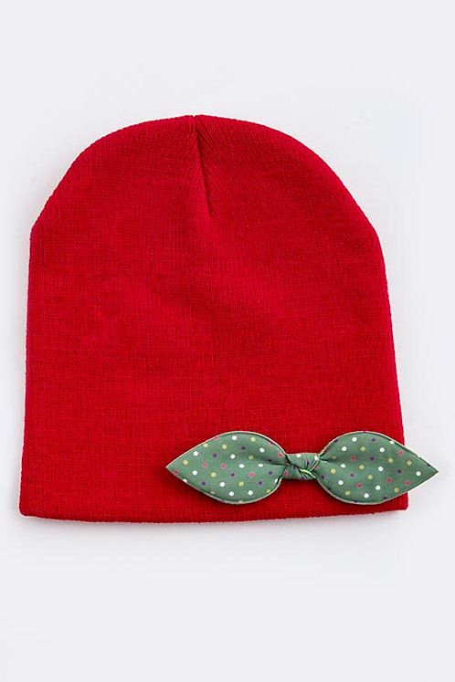 Red Girls Beanie with Polka Bow Accent
