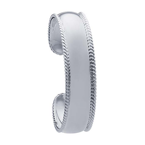 Sterling Silver Cuff Bracelet with Rope Edge