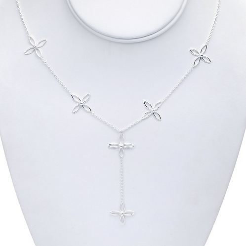 Sterling Silver Necklace w/Flower Links & Pendant