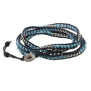 Black Leather Double-Strand Beaded Bracelet