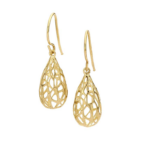 14K Gold Hollow Open Lines Teardrop Earrings